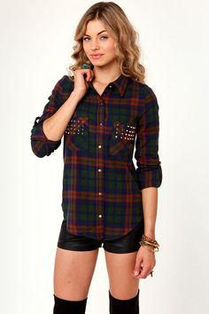 Cute Flannel Top - Plaid Top - Studded Top - $42.00