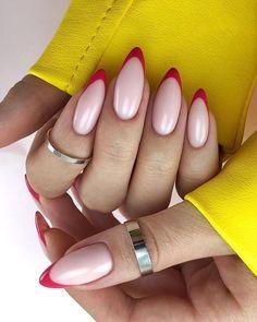 Frensh Nails, Chic Nails, Oval Nails, Stylish Nails, Nail Manicure, Pink Nails, Glitter Nails, Almond Acrylic Nails, Best Acrylic Nails