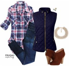 Frugal Fashion Friday Blue Quilted Vest Fall Outfit on Fugal Coupon Living - Mix rustic, chic, flannel and pearls. Polyvore outfit. Fall Fashion. Fall Inspiration.