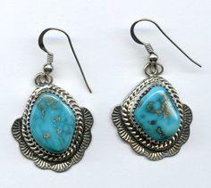 Vtg Navajo Guild NACG Symbol Billy McRae BM Sterling Turquoise Earrings 13.1Gr #NAVAJOARTSCRAFTSGUILDHALLMARK