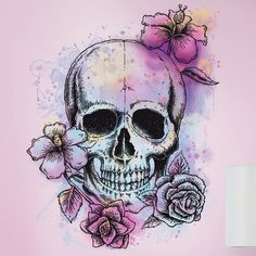 Room Mates Deco Bright Floral Skull Giant Wall Decal & Reviews | Wayfair