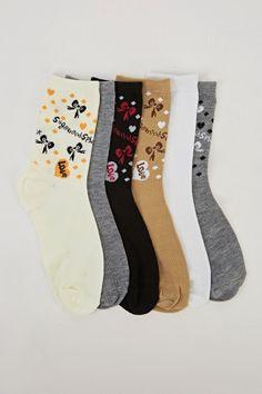 Pack Of 6 Butterfly Printed Socks