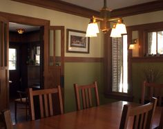 Dining Room Arts & Crafts Design, Pictures, Remodel, Decor and Ideas - Like the plate rail and the light fixture #artsandcrafts #greenvillscrealestate #greenvilleschomerestoration
