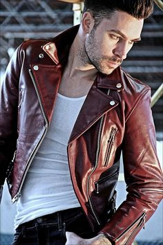 Men's Red Leather Biker Jacket...looks like my guy with short hair! :)