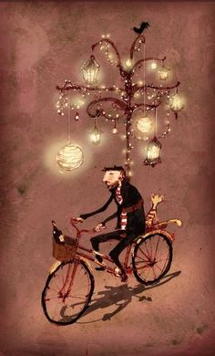 Whimsical art Illustration by Lee White, via Behance. Lampert Lampert From my dear soul sister for Hanukkah. Bike as Menorah; spreading the light Art And Illustration, Bicycle Illustration, Book Illustrations, Sticker Art, Art Fantaisiste, Lee White, Bicycle Art, Bicycle Painting, Whimsical Art
