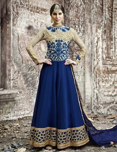 Blue Color Georgette Striking Salwar Kameez The lovely Crystals Stones & Sequins Work work a substantial attribute of this attire.