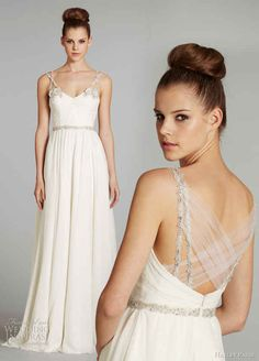 The way the straps criss cross in the front and then in the back. | 50 Gorgeous Wedding Dress Details That Are Utterly To Die For