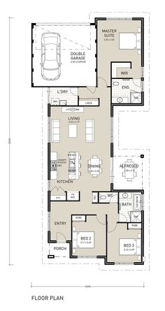 Untitled Narrow House Designs, Narrow Lot House Plans, Small House Floor Plans, Duplex House Plans, House Plans One Story, Story House, House 2, Simple Floor Plans, Modern Floor Plans