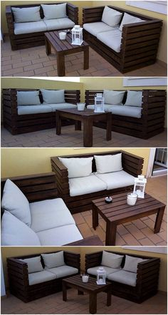 diy pallet furniture Here, have a look at this uniquely created pallet outdoor couch set. This seating furniture set with the placement of white color mattress and cushions appears stunning as well as comfortable to place Palette Furniture, Pallet Furniture Designs, Pallet Garden Furniture, Outdoor Furniture Plans, Patio Furniture Sets, Home Furniture, Wooden Furniture, Luxury Furniture, Furniture Ideas