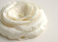 Ivory Flower Hair Clip  Bridal Hair Flower  by SarasBoutique, $16.00