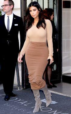 Kim Kardashian Flaunts Curves in Nude and Mocha Look in Paris—See the Photo!  Kim Kardashian
