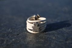 White leather with silver bear ring by NorthernlightsNO on Etsy
