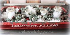 Bliss Ranch: Radio Flyer Wagon Centerpiece for Christmas Western Christmas, Modern Christmas, Retro Christmas, Christmas Crafts, Christmas Ideas, Xmas, Christmas Tables, Christmas Tree, Red Flyer Wagon