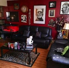 black-and-red-gothic-living-room https://www.facebook.com/shorthaircutstyles/posts/1759167507707022