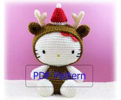 PDF Pattern : Amigurumi Kitty in Christmas Reindeer Costume. $5.50, via Etsy. Hello Kitty Reindeer? Love!
