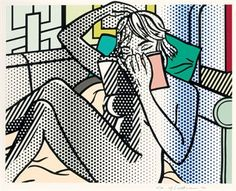 "Nude Reading by Roy Lichtenstein, 12 color relief print. From the portfolio ""Readers & Readings"" in our Fall 2003 issue, Jeanette Winterson writes of the print, ""Roy Lichtenstein's Nude Reading. Roy Lichtenstein Pop Art, Art Pop, Pablo Picasso, Pop Americano, James Rosenquist, People Reading, Industrial Paintings, Reading Art, Woman Reading"