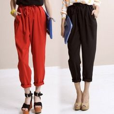 Bright Color Hight Waist Pants Bud Tapered Baggy Harem Cotton Capris Women's Ladies' Fashion Casual Rolled Cuffs Summer Trousers $27.98