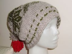 Woman Knit Winter Hat Slouchy in Light Brown Olive by earflaphats, $54.99