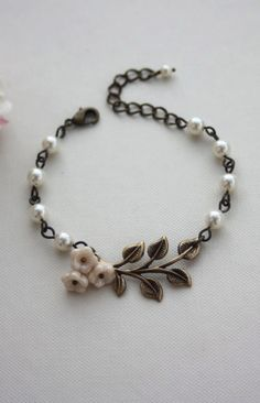 Brass Leaf, Ivory Glass Flowers Pearls Bracelet. Country Rustic Barn Wedding. Bridesmaids Gift by Marolsha.
