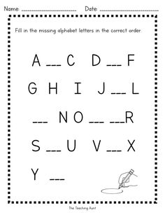 Missing Uppercase Letters Worksheets (Free Printable)
