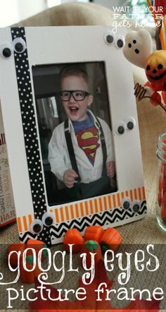 Googly Eyes Picture Frame take a picture of all the kids at halloween and do this every year to remember ;)