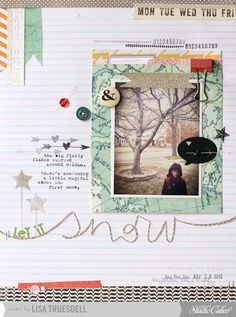 #papercrafting #scrapbook #layouts: Snow by Lisa T using Studio Calico