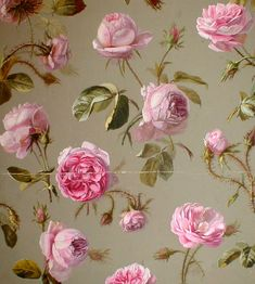 Antique french floral wallpaper with pink roses on a pale green background - Carefully selected by Gorgonia www.gorgonia.it
