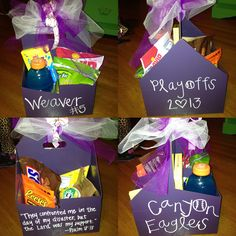 gift basket idea: paint and add ribbon to a drink holder from a fast food restaurant for budget-friendly packaging!