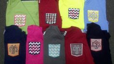 Personalized Frocket Tee Shirts Long Sleeve Fabric Pocket T-shirt Embroidered Initials or Greek Letters Applique Pocket Shirt Birthday Gift. $26.00, via Etsy.
