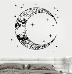 Vinyl Wall Decal Crescent Moon Stars Bedroom Design Stickers (939ig)