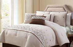 Comforter Set Queen 7PC Bedding Bedskirt Throw Pillows Beige & Brown Beautiful!