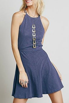 Navy, Spaghetti Strap, backless Dress.
