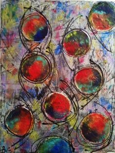 8 colourful circles/30 cm x 40 cm (VENDU)