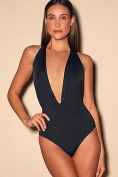 The Lulus Get it Right Black Halter One Piece Swimsuit is here to solve all your swimwear dilemmas! This sultry one piece has a plunging halter bodice. Cute One Piece Swimsuits, Black One Piece Swimsuit, Halter One Piece Swimsuit, Black Bikini Bottoms, Bikinis, Swimwear, Summer Outfits Women, Summer Fashions, Women Swimsuits