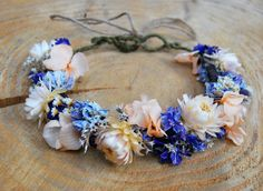 Flower crown with dried and preserved flowers by LotusFloralArt More