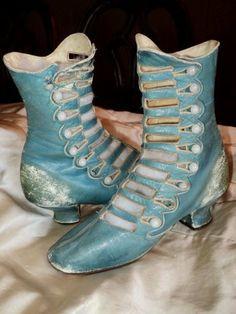 Leather Lattice Button Boots, circa 1880-1900 (Etsy)