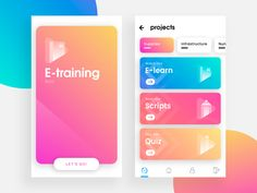 E-Training mobile android ios ux ui project business management colorful gradient card app Ios App Design, Game Ui Design, Mobile Ui Design, Dashboard Design, User Interface Design, Dashboard Ui, Application Mobile, Application Design, Card Ui
