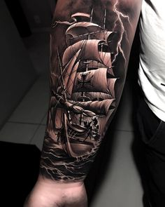 Well, first of all boat tattoo designs can be funny and beautiful. Forarm Tattoos, Cool Forearm Tattoos, Leg Tattoos, Tatoos, Neck Tattoo For Guys, Half Sleeve Tattoos For Guys, Ship Tattoo Sleeves, Mens Side Tattoos, Nautical Tattoo Sleeve
