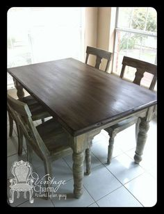 Staining on top of chalk paint to create that wooden look Banks Extending Pedestal Dining Table  Medium  Alfresco Brown  . Arlington Round Sienna Pedestal Dining Room Table W Chestnut Finish. Home Design Ideas