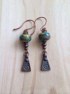 Blues and Brown Lampwork Earrings Copper and Blue Swirled Glass Bead Earrings Lampwork Jewelry (25.00 USD) by NorthWestTradingCo - handmade - jewelry - jewellery - artisan - etsy