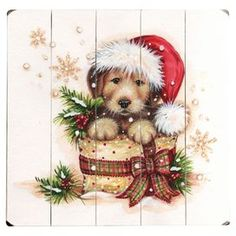 """Paneled wood wall decor with a holiday puppy design.  Product: Wall decorConstruction Material: WoodDimensions: 13"""" H x 13"""" WCleaning and Care: Wipe with a damp cloth"""