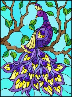 Illustration of Illustration in stained glass style bird peacock and tree branches on background of blue sky vector art, clipart and stock vectors. Stained Glass Paint, Stained Glass Birds, Stained Glass Designs, Stained Glass Patterns, Glass Painting Designs, Paint Designs, L'art Du Vitrail, Peacock Wall Art, Polygon Art