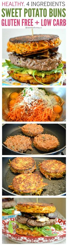 Gluten free Sweet Potato Patties with only 4 ingredients. Crispy, healthy patties perfect as a simple light dinner or to use as gluten free burger buns. Sweet Potato Patties, Sweet Potato Buns, Sweet Potato Burgers, Sweet Potato Recipes, Sweet Potato Diet, Whole30 Sweet Potato, Sweet Potato Fritters, Healthy Drinks, Healthy Cooking