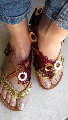 Leather greek sandals season summer 2017 by artstella on Etsy