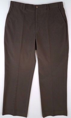 6df0d87a8f ORVIS Mens PANTS 36 30 Flat FRONT Microfiber POLYESTER Size BROWN Olive  RIBBED