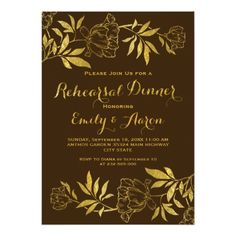 Gold foil peonies floral wedding rehearsal dinner card