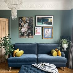 Our evokes calm and serenity, and is guaranteed to add a delicately contemporary touch to any room. Farrow And Ball Living Room, Living Room Green, New Living Room, Living Room Sofa, Living Room Decor, Room Color Schemes, Room Colors, Living Room Inspiration, Home Decor Inspiration