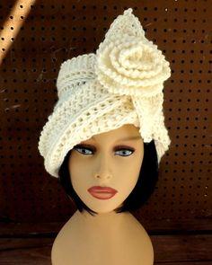 Ivory Crochet Hat Womens Hat, Crochet Cloche Hat with Crochet Flower, Steampunk Hat, Ivory Hat, Winter Hat, OMBRETTA Cloche Hat with Flower