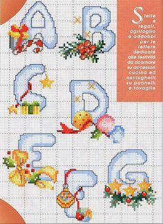 alfabeto natalizio (1) Christmas Cross Stitch Alphabet, Cross Stitch Alphabet Patterns, Cross Stitch Letters, Beaded Cross Stitch, Cross Stitch Charts, Cross Stitch Embroidery, Stitch Patterns, Embroidery Letters, Christmas Embroidery