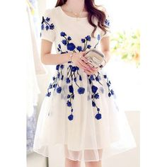 Graceful Floral Embroidery Design Wide Hem Short Sleeve Round Collar Dress For Women